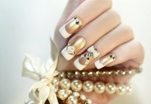 Gold Nageldesign Weiss Nails